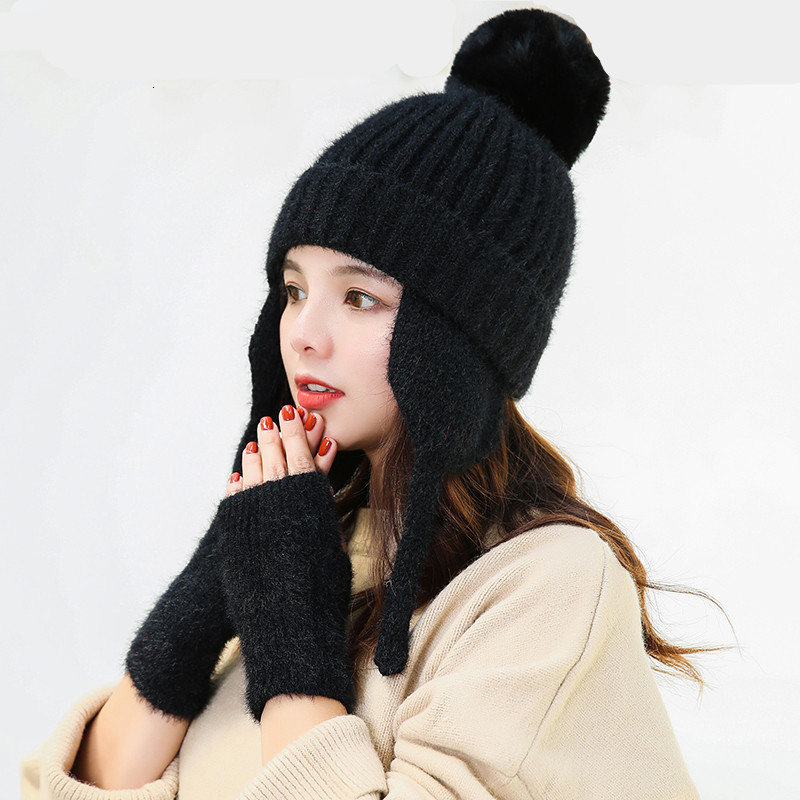 Simple Warm Ski Brand Rabbit Fur Pom Poms Warm Gloves + Knit Hat Set Winter Women Wool Beanie Hat Thick Skullies Female Cap
