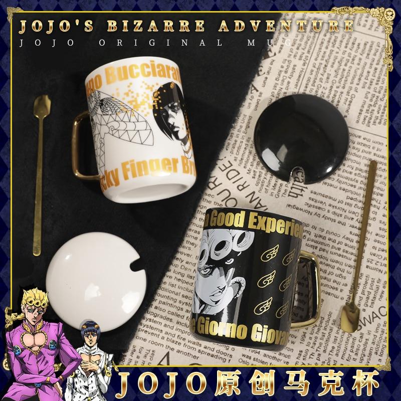 Anime JoJo's Bizarre Adventure Bucciarati Giovanna Water Cup Mug Cup Porcelain Cup Spoon+Cup Lid Cosplay Birthday Gifts