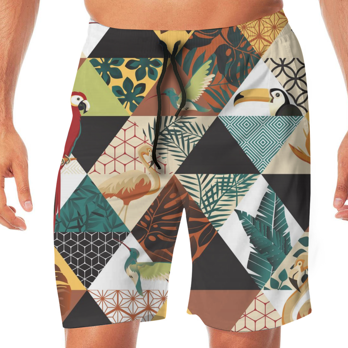 Summer Men's Beach Shorts Exotic Hawaii Art With Parrot Toucans Hummingbird And Tropical Palm Leaves Shorts Men's Short Trousers