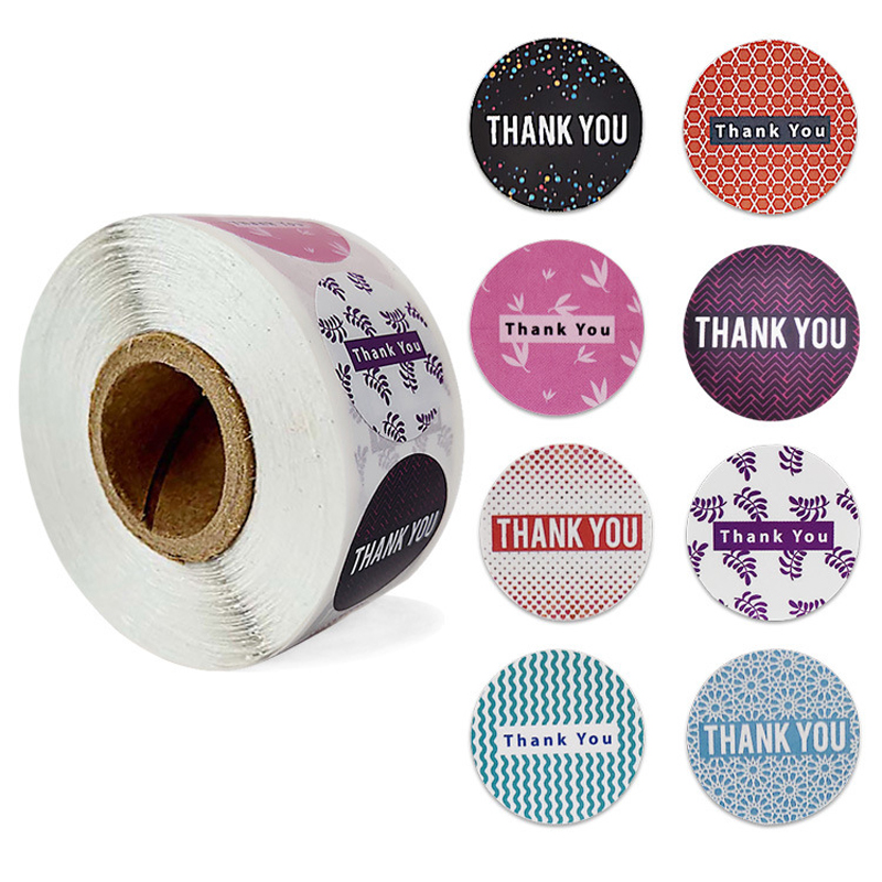 500 Pcs/Roll 8 Styles Round Thank You Sticker Seal Label Scrapbook Label DIY Handmade Cake Baking Decoration Stationery Stickers