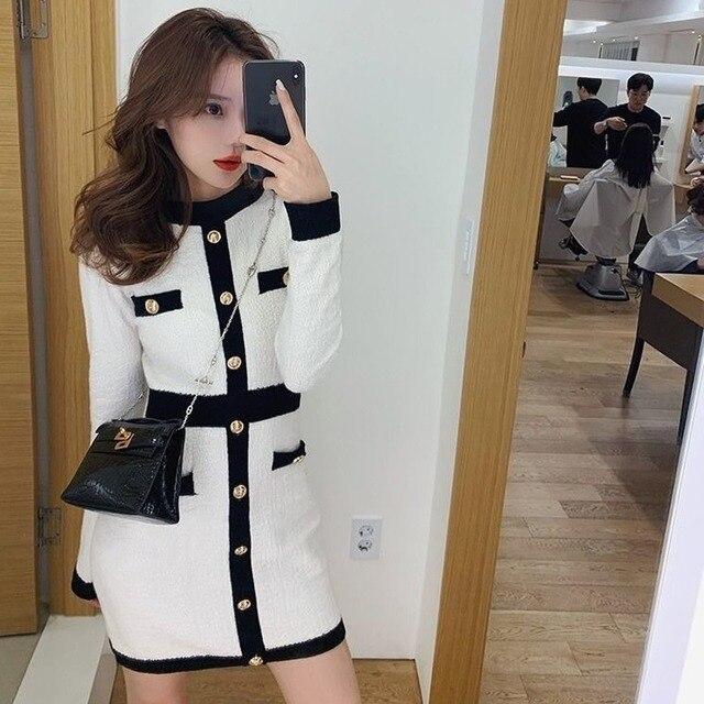 QWEEK Knitted One-piece Dress Korean Fashion Winter White Women Knit Bodycon Dress Elegant Long Sleeve Dress Knitwear For Women 2
