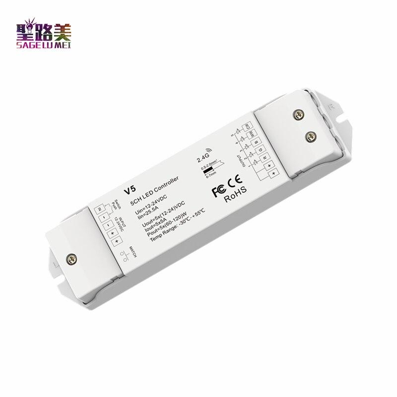 Controlador V5 RGB + CCT de alta potencia, controlador V5 de 5 canales * 5A 12-24VDC CV, controlador de baja presión para tira LED RGB + CCT Panel táctil B8 montado en la pared; Atenuador RF remoto FUT089 de 8 zonas; Controlador led inteligente LS2 5 en 1 para RGB + CCT, tira led Miboxer