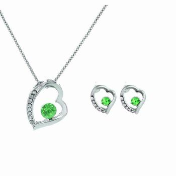 Fine Jewelry Women Fashion 925 Sterling Silver Jewelry Set Austrian Fruit Green Crystal Wedding Jewelry Set Free Shipping image