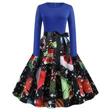 Big Swing Print Dress For Women 2019 Autumn New Vintage Christmas Dresses Long Sleeve Elegant Fashion Dress Vestidos S-2XL long sleeve elk print christmas mini swing dress