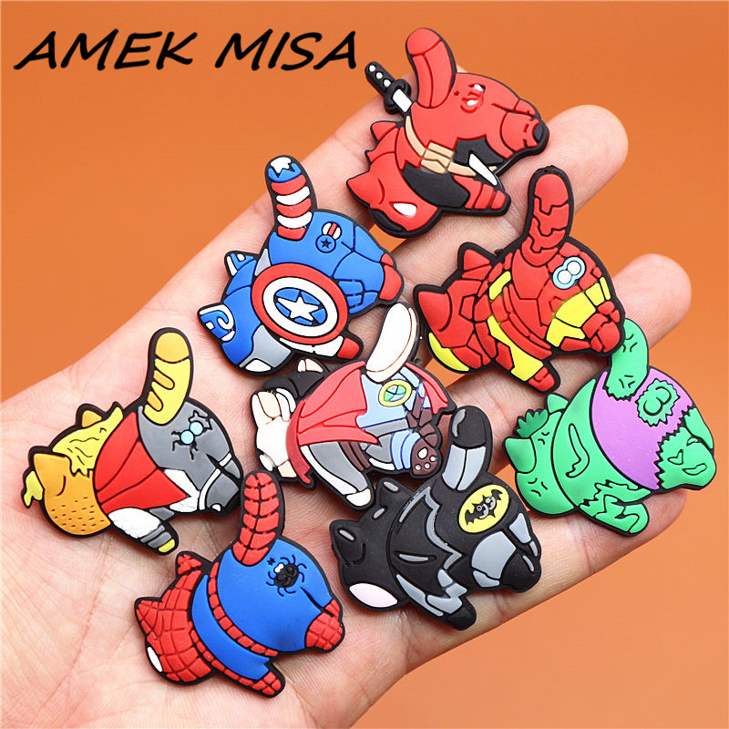 1pcs Avengers PVC Shoe Charms Shoes Buckle Accessories Shoe Decoration Fit Bands Bracelets Croc JIBZ Kids Gift Free Shipping