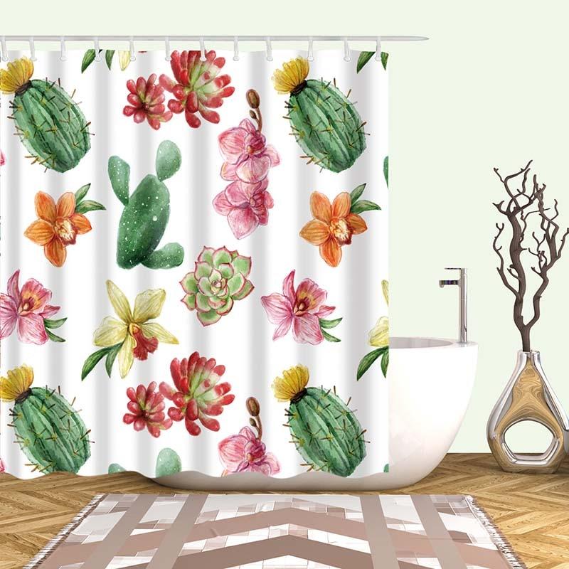 Тропический кактус, занавеска для душа, полиэфирная ткань, занавеска для ванной комнаты, украшения для ванной комнаты, мульти-размер, занавеска для душа с принтом s - Цвет: 18