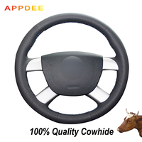 Appdee Black Genuine Leather Hand stitched Car Steering Wheel Cover for Ford Kuga 2008 2011 Focus 2