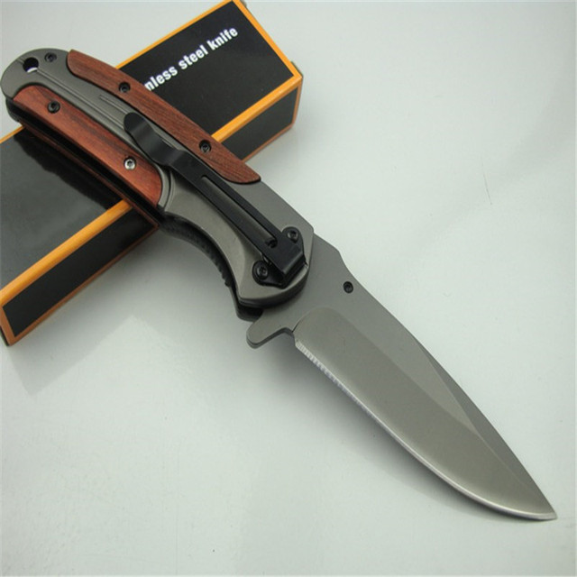 DA43 quick opening folding knife (gray titanium)  440C all steel + acid wood handle Military Survival hunt and camp Knife Pocket 4