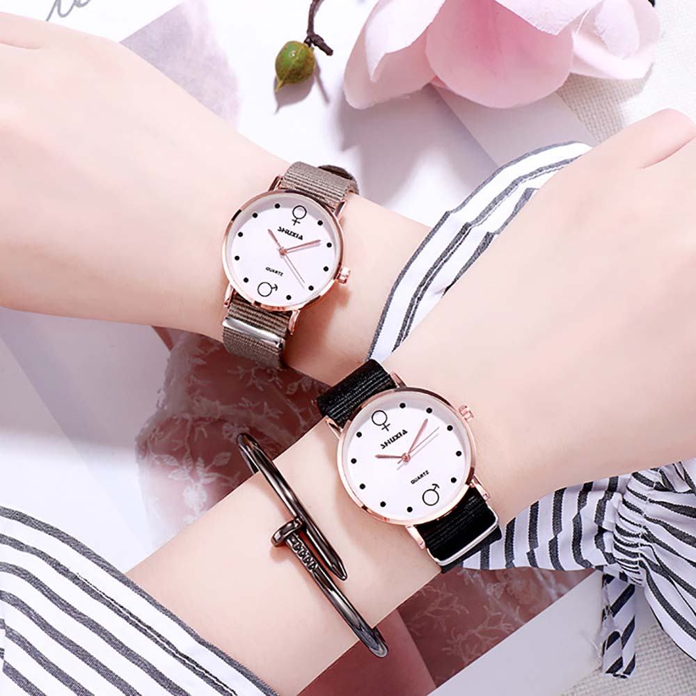 High Quality Student Couple Watch Korean Version Of The Simple Small Fresh College Wind Lovers Canvas Watch