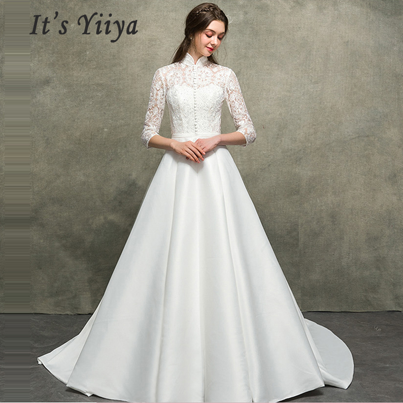 It's Yiiya Wedding Dress Sexy Lace High Collar Wedding Dresses 2019 Plus Size Hollow Three-quarter Sleeve Vestido De Novia E666