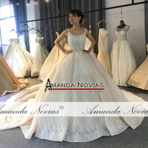 Image 2 - 2020 Champagne Luxury Beading Wedding dress Shiny Cathedral train wedding gown half payment  not  full price