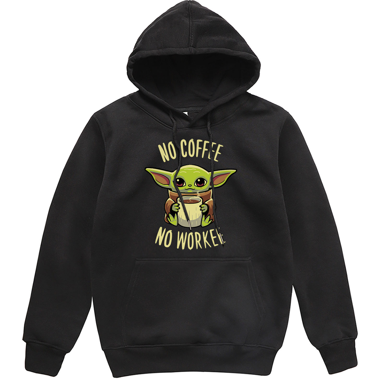 Funny Print NO COFFEE NO WORKEE Clothing Men Spring Autumn Warm Sweatshirts Stars Wars Mandalorian Baby Yoda Hoodies Streetwear