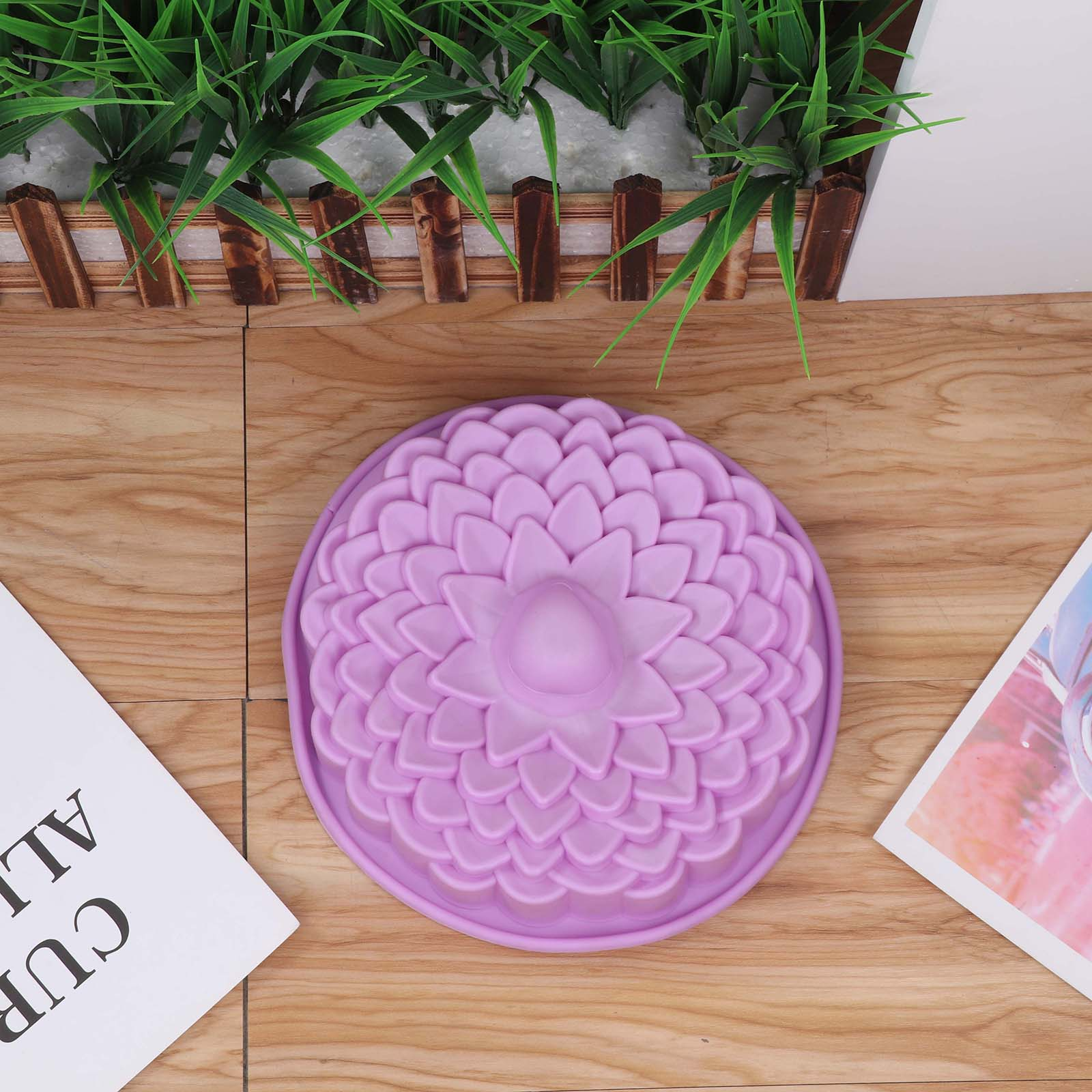 Cake Baking Mold Silicone Pans Flower Green Blue Purple 3D Bread Pastry Bakeware Mold For Homemade DIY Birthday Wedding Party