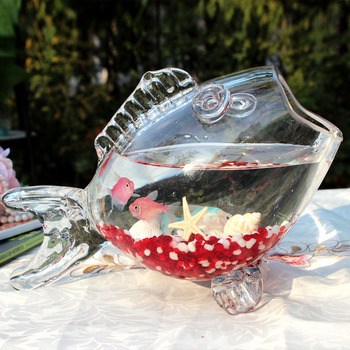 Стеклянные фигурки в форме рыбки, стеклянные фигурки с кристаллами