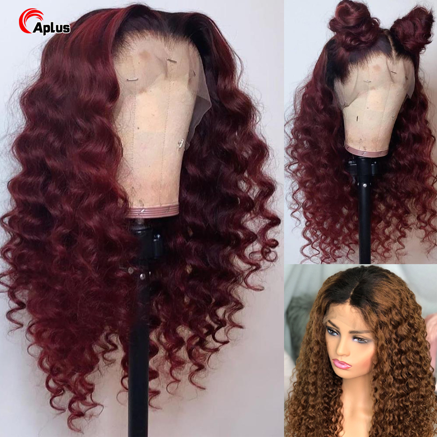 1B/burgundy/30/27 Curly Brazilian Hair 4X4 Lace Closure Wig Ombre Red 13X4 Lace Front Wig Human Hair Wigs Pre Plucked For Woman