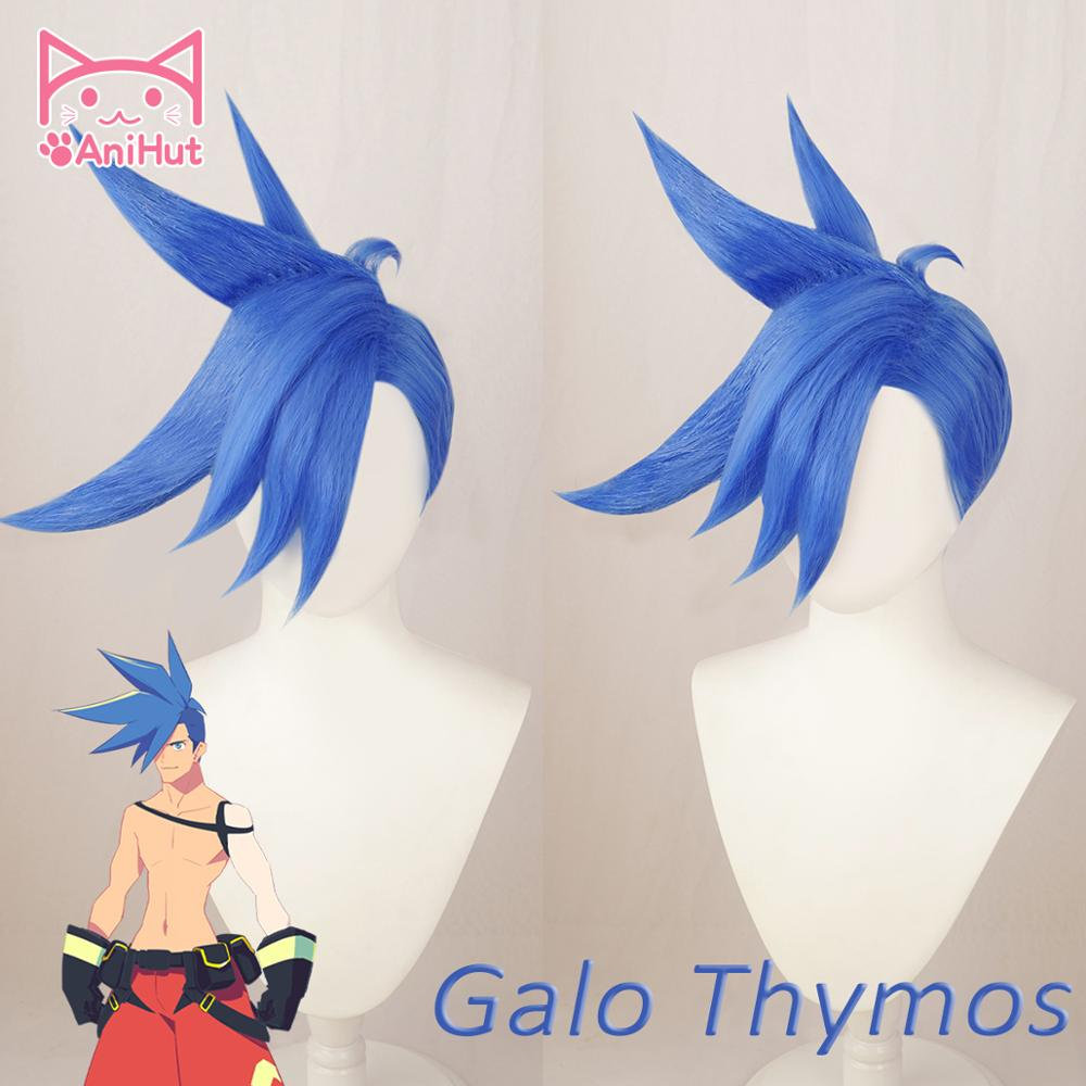 【AniHut】Galo Thymos Wig PROMARE Burning Rescue Cosplay Blue Synthetic Heat Resistant Hair