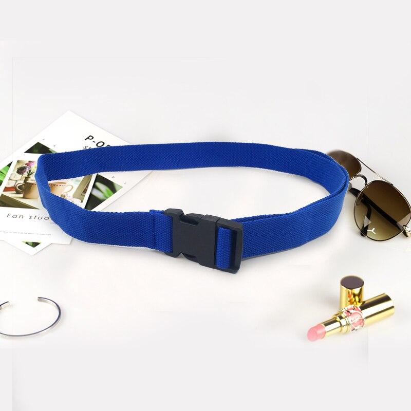 Модный черный холщовый ремень для женщин, повседневные женские поясные ремни с пластиковой пряжкой Harajuku, однотонные длинные ремни ceinture femme - Цвет: Blue