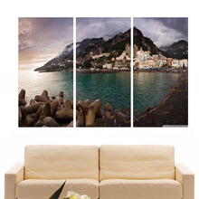 Modern Colorful Photo Picture Amalfi Lake Coast Room Decor Cities Canvas Art Painting Living Bedroom