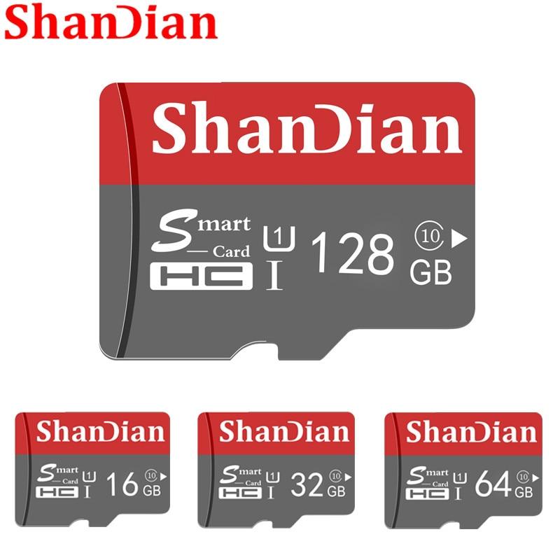 Tarjeta SD inteligente SHANDIAN 32GB alta velocidad Clase 10 16 GB/64 GB capacidad Real 128GB Mini SD tarjeta de memoria tarjeta TF para Smartphone