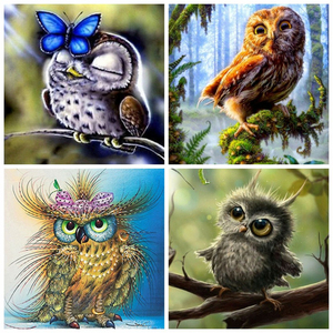 AZQSD Diamond Embroidery Animal Full Kits DIY Handicraft 5D Diamond Painting Owl Picture Rhinestones Full Square Handmade Gift