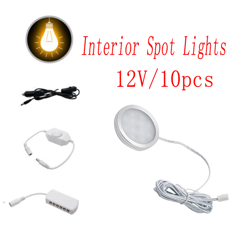 10pcs 12V Interior Warm LED Spot Lights 2.5W For T4 T5 Camper Van Caravan Motorhome Car Warm Lights 3000K