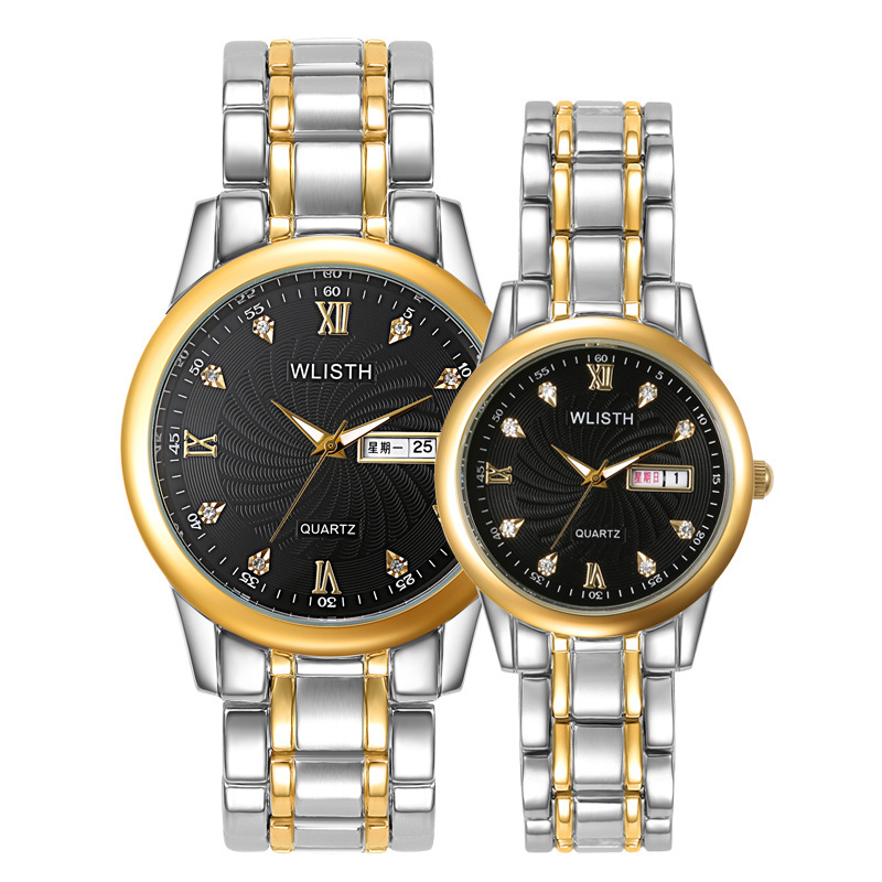 Couple Watches Waterproof Clock Men Watches Between The Gold Business Korean Tide Leisure Fashion Unique Watch Pair For Couples