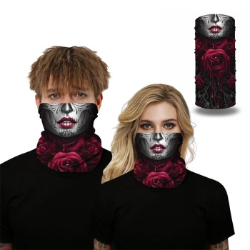 Unisex Outdoor Motorcycle Cycling Half Face Cover Balaclava Scarf Skeleton Print Bandana Headband Dust proof Face Shield Scarves bjmoto cool skeleton skull motorcycle ski headband sport outdoor neck face mask mtb racing cycling windproof scarf balaclava