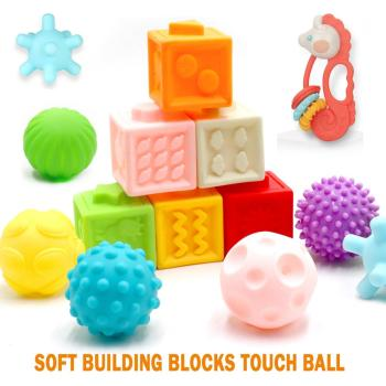3WBOX Baby Grasp Toy Building Blocks 3D Touch Hand Soft Balls Massage Rubber Teethers Squeeze Sensory Silicone Bath Toys for bab baby grasp toy large soft rubber vinyl embossed building blocks 3d touch hand balls baby massage rubber teethers squeeze toys