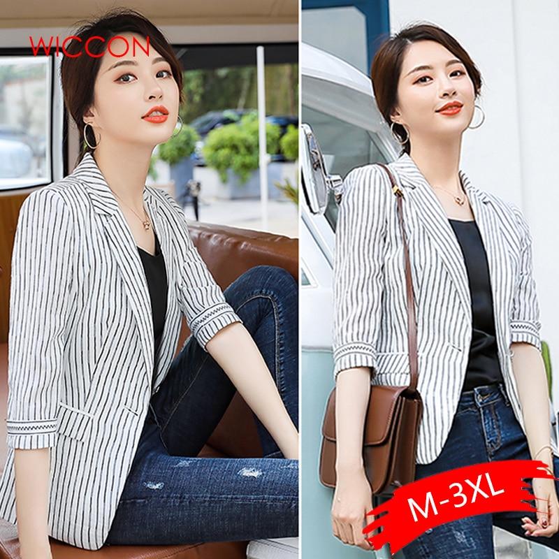 Women Striped Blazer Office Lady Single Button Fashion Blazer Coat Long Sleeve Women's Casual Blazer Coats