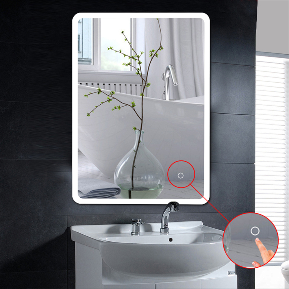 New LED Mirror Bathroom Makeup Bath Room Vanity Cosmetic Miroir Espejo Mirror Wall Mounted Lighted Mirror For Bath Fixture HWC