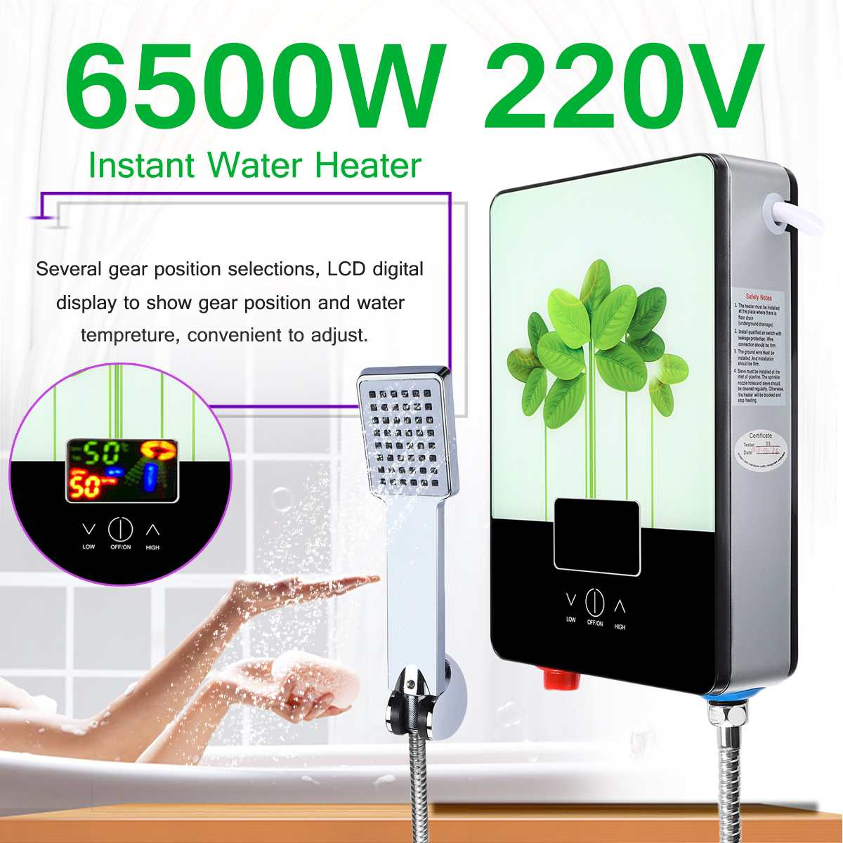 6500W 220V Electric Hot Water Heater Tankless Instant Boiler Bathroom Shower Set Thermostat Safe Intelligent Automatically
