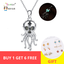 StrollGirl 100%925 Sterling Silver Vintage Octopus Pendant Necklace with Shiny Necklace 2019 Women Fashion Jewelry Free Shipping