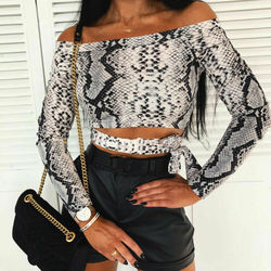Off Shoulder Snake Skin Print Fitted Tee Long Sleeve Slim Spring Hollow Bowknot T Shirt Women Spring Autumn Fashion Ladies Tops