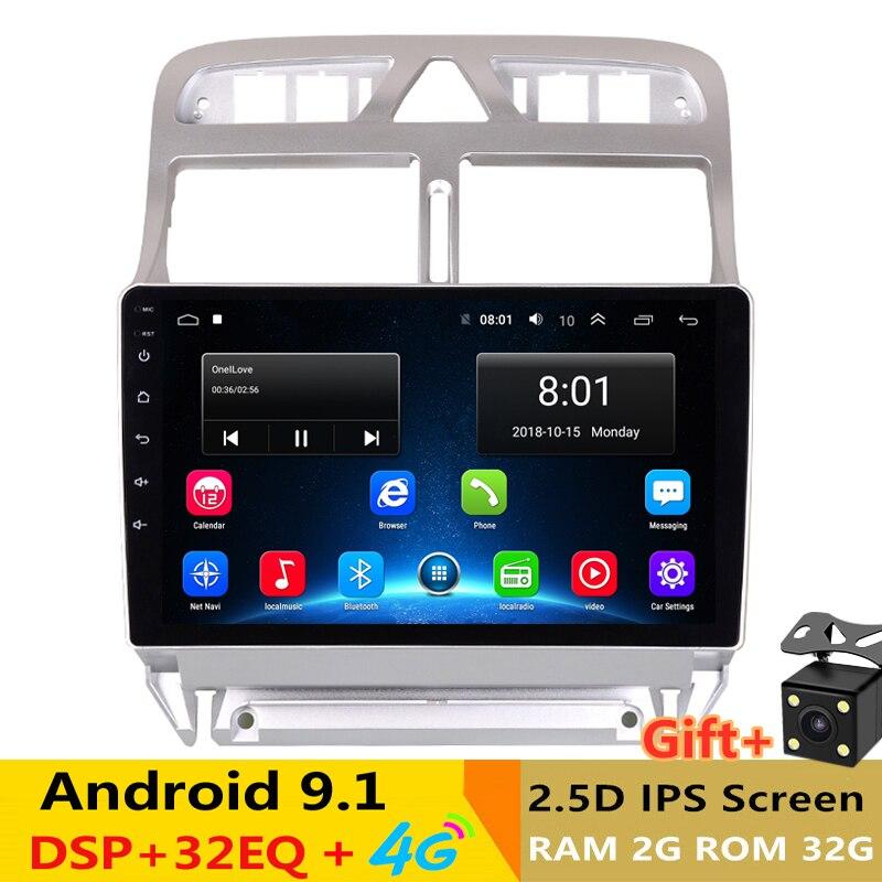 Lecteur multimédia DVD de voiture Android 9.1 Navigation GPS pour peugeot 307 2004 à 2013 avec bluetooth intégré wifi 2G RAM 32G ROM
