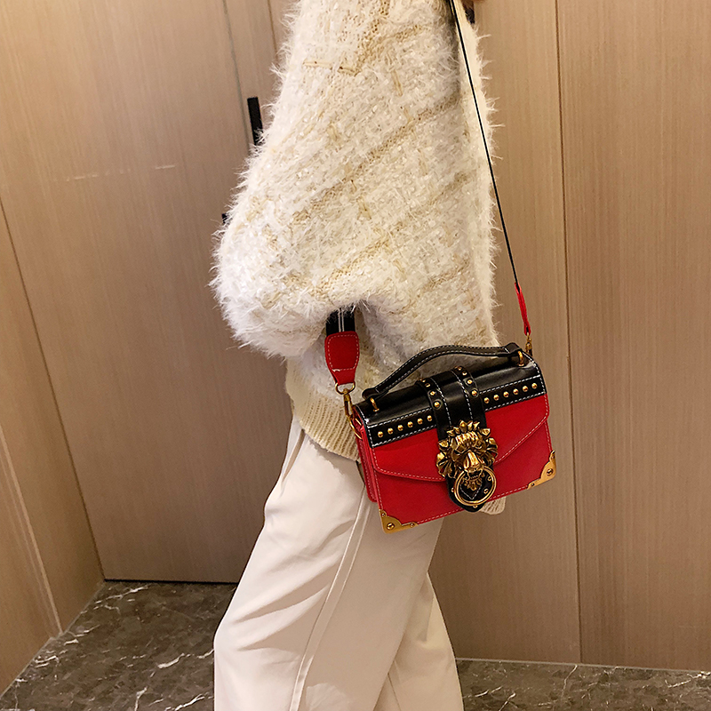 H580f06409ee74612874eeb4c12d566a2O - Female Fashion Handbags Popular Girls Crossbody Bags Totes Woman Metal Lion Head  Shoulder Purse Mini Square Messenger Bag