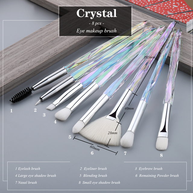 FLD  Eye Brush  Diamond Makeup brushes Set Professional Crystal Eye Shadow Lip Eyebrow Brushes High Quality Lip Eyeliner Tools 3