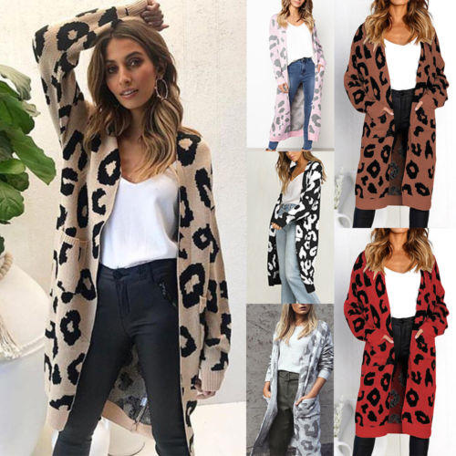 New Elegant Women Ladies Long Sleeve Leopard Chunky Knit Cardigan Coat Open Front Jackets Fashion Streetwear Oversized Sweater