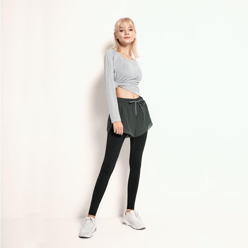 Womens Yoga pants False two-piece Women Athletic Pants Fitness Leggings Slim Running Sport Pant Gym Solid color Yoga Pants