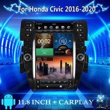 Autoradio Android, Navigation GPS, lecteur multimédia MP3, écran Tesla Vertical, 2 Din, pour Honda Civic (2016 – 2019)