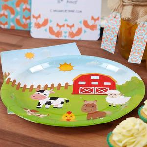 Image 3 - Huiran חוות ספקי צד שמח מסיבת יום הולדת קישוט ילדים חד פעמי המפלגה כלי שולחן דקורטיביות