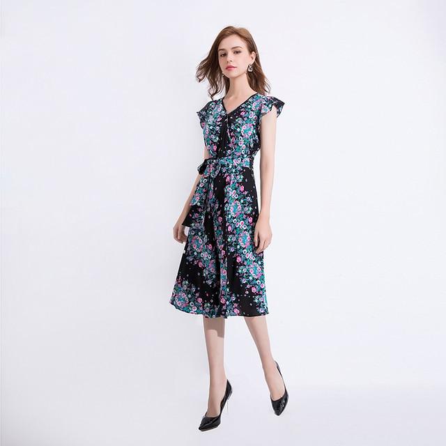 Gedivoen mode piste robe dété femmes col en V imprimé fleuri à lacets soie une ligne robe Vintage fête robes mi-longues Vestidos