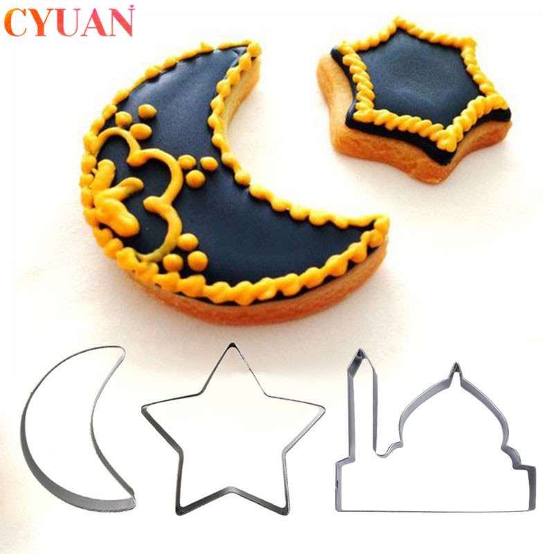EID MUBARAK Cookie Cutter Set Moon Star Biscuit Mold Happy Eid Party Cake Baking Tools Ramadan Decoration Kareem Party Supplies