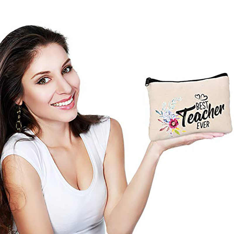 Teacher Makeup Pouch Cosmetic Pencil Bag graduation Holiday new year Christmas back to school Gift decoration favor