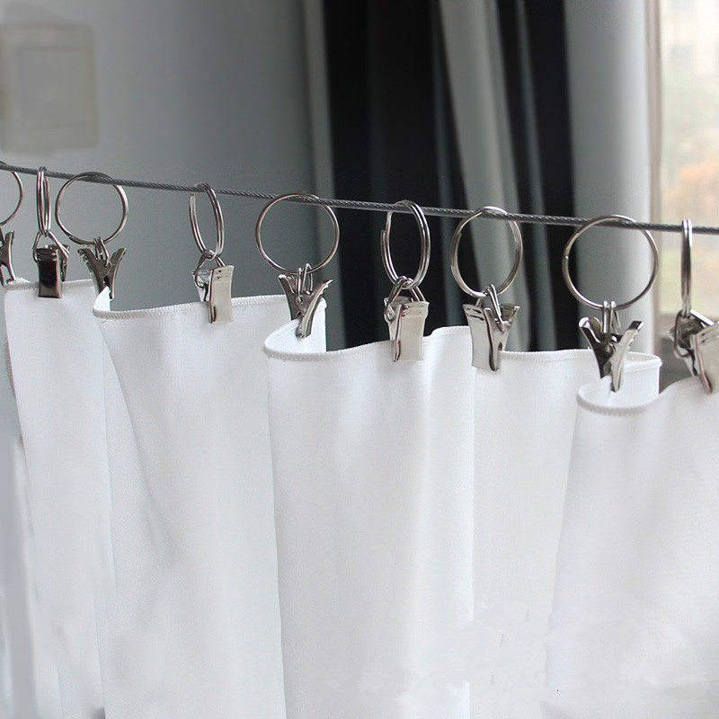 10pcs Stainless Steel Curtain Rod Clips Window Shower Curtain Rings Clamps Drapery Clips