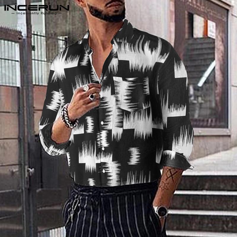 INCERUN Fashion Men Dress Shirt Print Long Sleeve Lapel Casual Camisa Masculina 2019 Streetwear Men Hawaiian Brand Shirts S-5XL