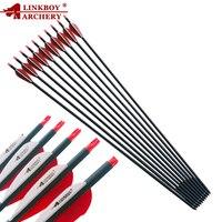 Linkboy mix flecha de carbono espinha 500 28/29/30 Polegada id6.2mm composto arco tradicional caça acessórios ao ar livre