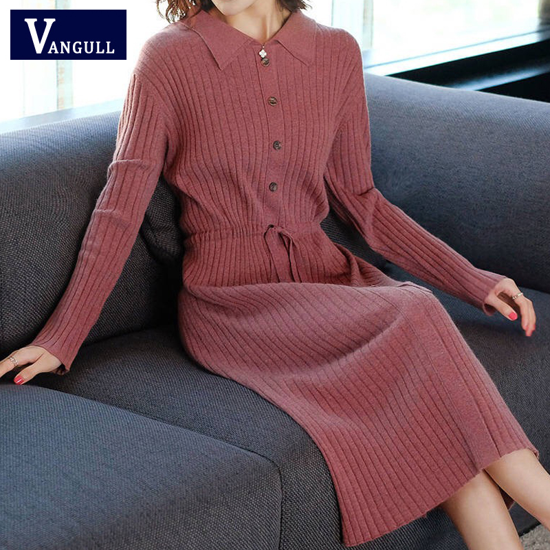 Vangull Women Knitted Dresses Solid Female Long Sleeve Dress 2019 New Autumn Winter Turn-down Collar Button Solid Slim Dresses 46