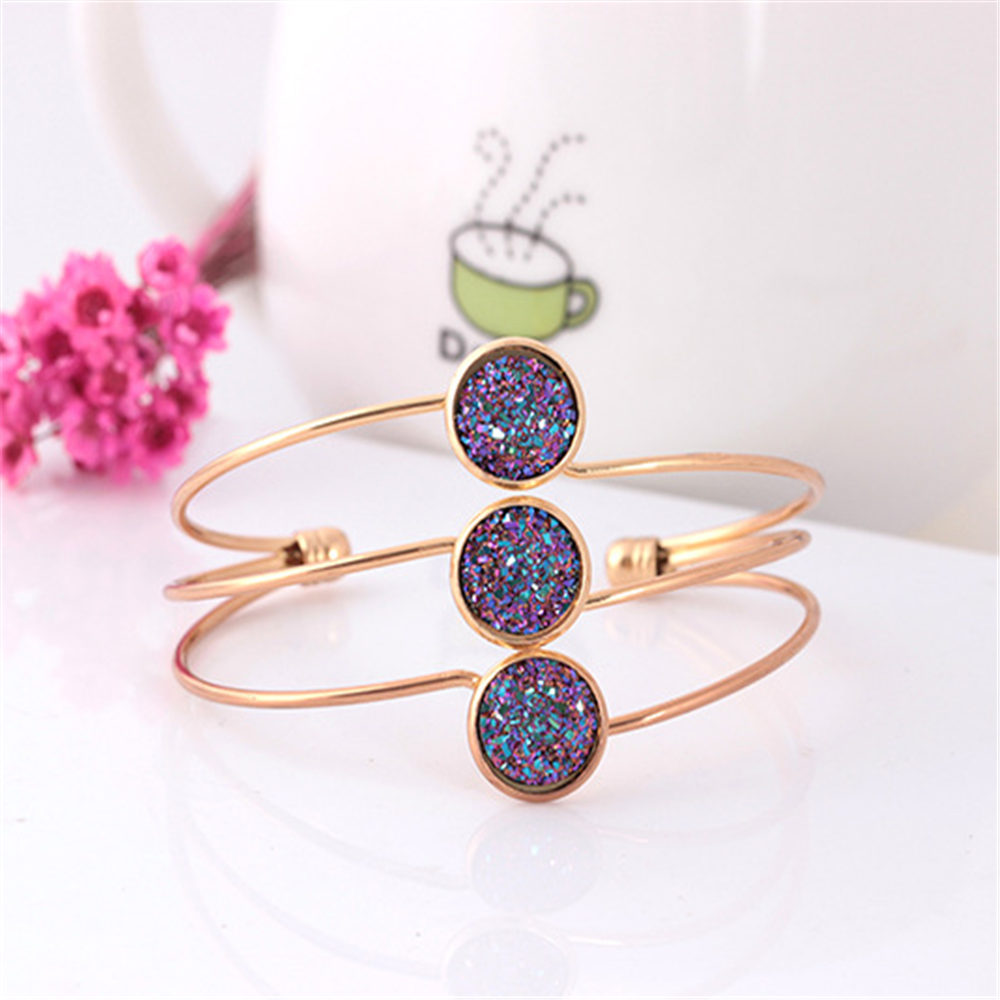 Neue Mode 3 Streifen Multilayer Opal Metall Manschette Armbänder Armband für Frauen Shiny Pailletten Armband Öffnung Armreifen Reif