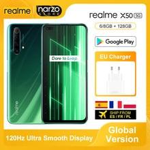 Versão global realme x50 5g smartphone 8gb 128gb snapdragon 765g 6.57 Polegada 120hz ultra display 48mp quad câmeras traseiras 30w carga