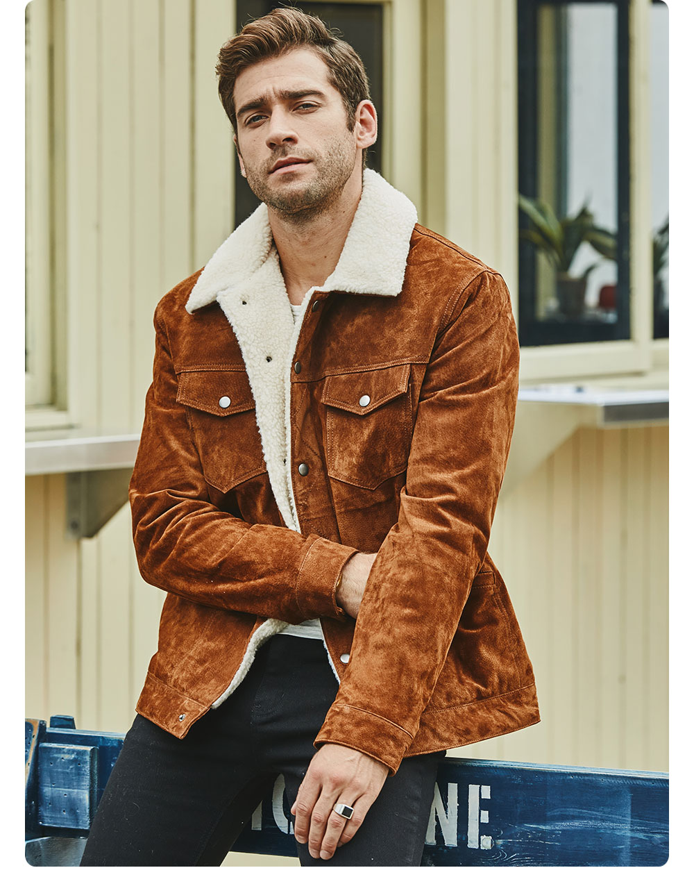 H580fee3481f34d5bb48cb17a04ae89c84 FLAVOR New Men's Real Leather Jacket Genuine Leather With Faux Shearling Warm Coat Men